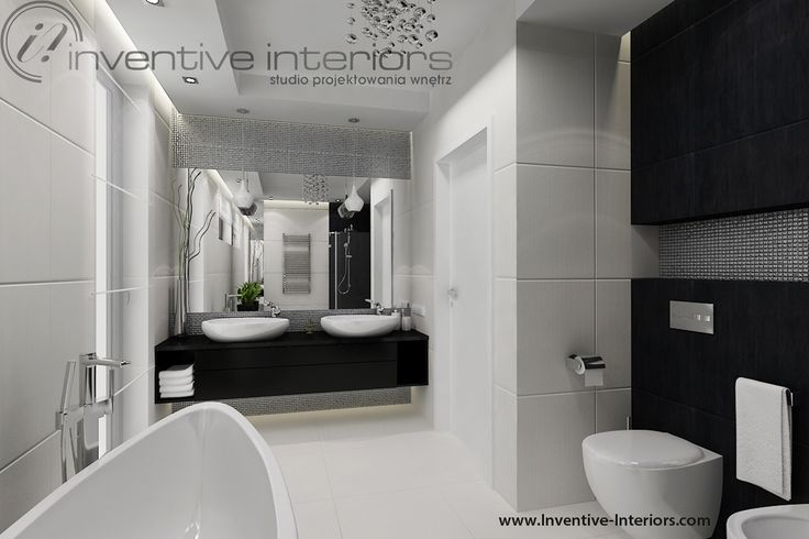 Projekt łazienki Inventive Interiors - srebrna mozaika w biało-czarnej łazience