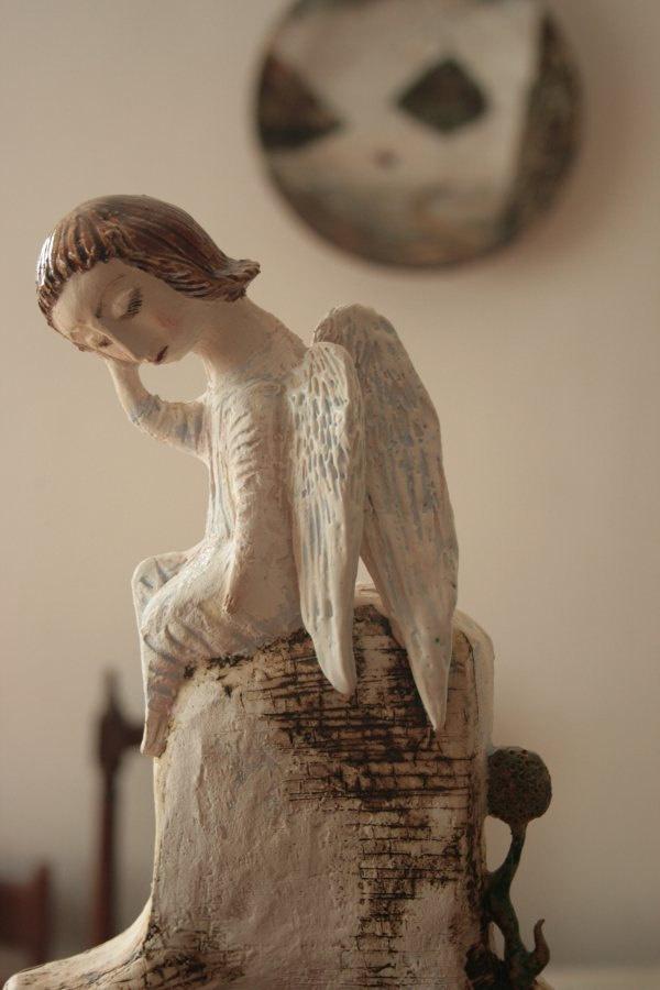 Dreaming angel. Sculpture.. $450.00, via Etsy.