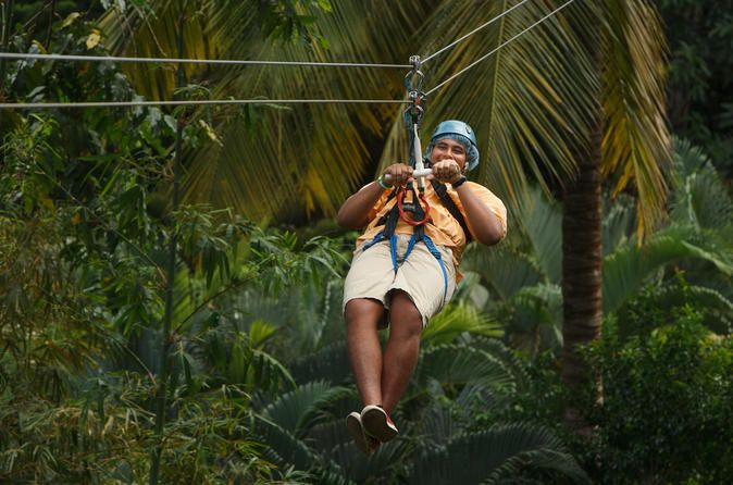 St Lucia Aerial Tram and Zipline Canopy Tour 			An adventurer's delight! Discover the beauty and excitement of the St Lucia rainforest on this unique combination tour! Start out with a guided aerial tram tour over the rainforest's canopy before moving on to the thrilling zip line course! After 10 ziplines, a canopy gondola ride plus a scenic rainforest hike, this St Lucia eco-adventure will leave you with unforgettable memories! 					Upon arrival at the park in Chassin, you'll...