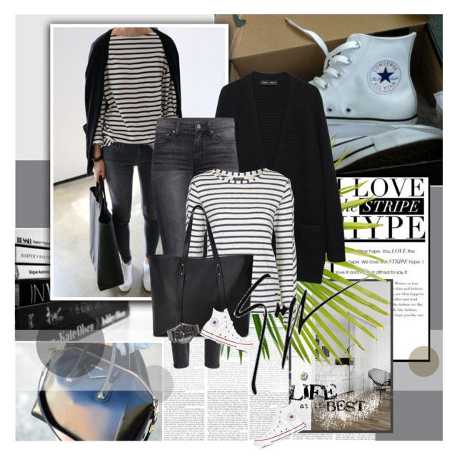 """""""Converse and Stripes"""" by rainie-minnie ❤ liked on Polyvore featuring Proenza Schouler, H&M, Topshop, Forever 21, Converse, The Horse, Giuseppe Zanotti, women's clothing, women and female"""