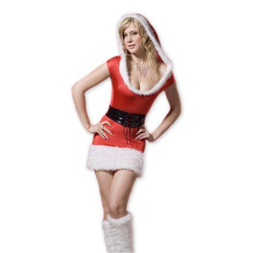 minijurkje in kerststijl    rood met witte bondrandjes en vaste capuchon kleine korte mouwtjes inclusief riem