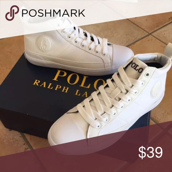 New men's polo shoes high top white new w box New men's polo shoes size 10 all white minor signs of wear new w box I ship same or next day smoke and pet free home Polo by Ralph Lauren Shoes Sneakers