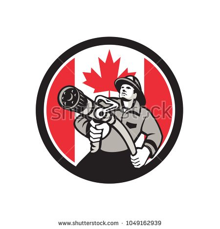 Icon retro style illustration of a Canadian firefighter or fireman holding a fire hose front view with Canada maple leaf flag set inside circle on isolated background.  #firefighter #icon #illustration