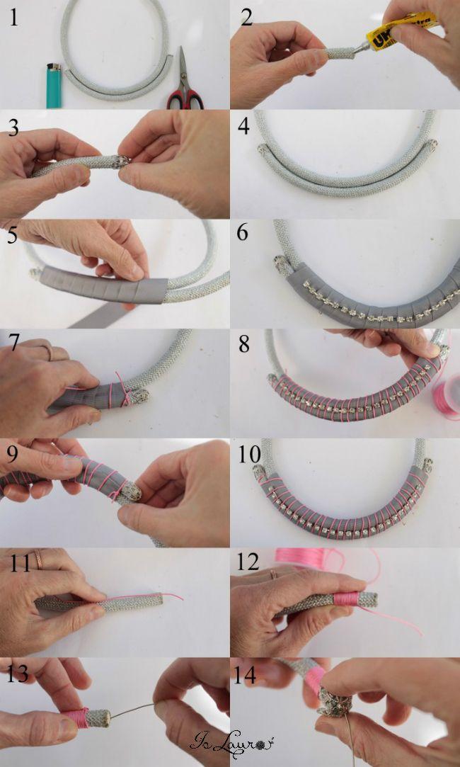 Realizzare una collana con un cordone e un filo di strass