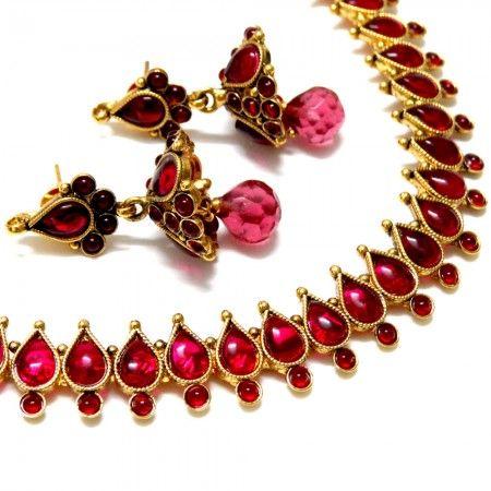 Teardrop Kemp Style Necklace Set - Pink