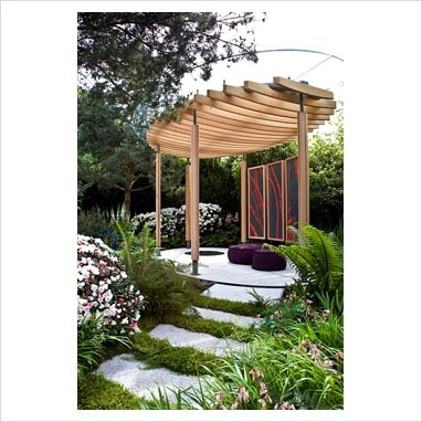 GAP Photos - Garden & Plant Picture Library - Steps up to circular pavilion with decorative panels in The Homebase Cornish Memories Garden - Silver Gilt Medal Winner, RHS Chelsea Flower Show 2011 - GAP Photos - Specialising in horticultural photography