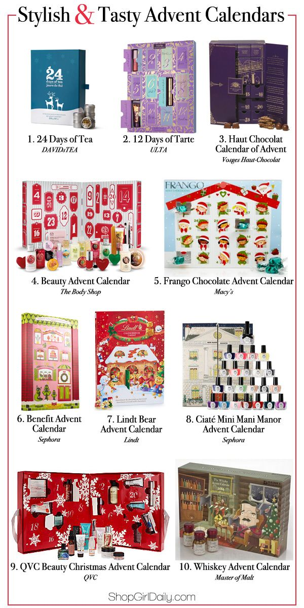ShopGirlDaily.com shares an assortment of advent calendars 2014. We spotted beauty advent calendars, whiskey advent calendars, chocolate ones, and more! #adventcalendars #gifts