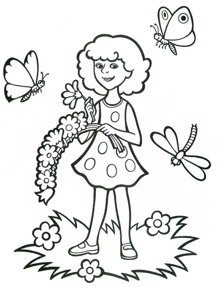 Девочка с бабочками | Раскраски, Рисунки для раскрашивания