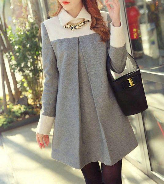 -Manga larga de dos tonos de collar Vestido - Moda de la Calle | YesStyle