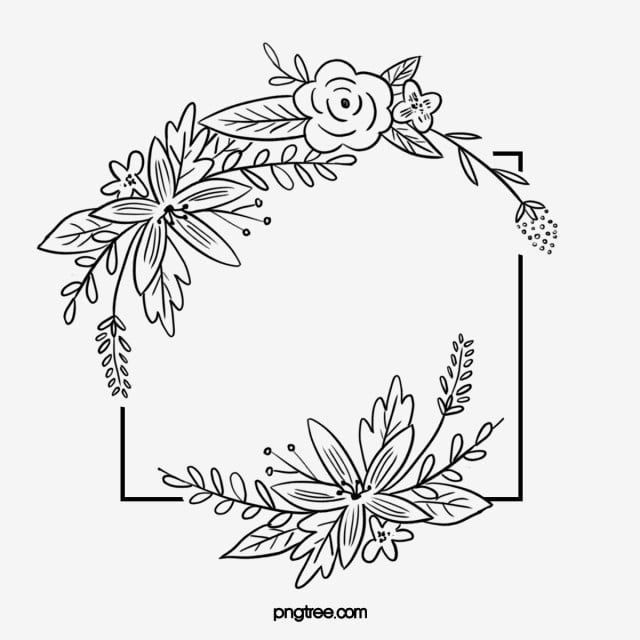 Black Hand Drawn Line Side Wedding Decoration With Square Surrounded By Braids Flowers Plant Border Everlasting Agreement Love Png Transparent Clipart Image Flower Drawing Design Flower Pattern Drawing Floral Wreath Drawing