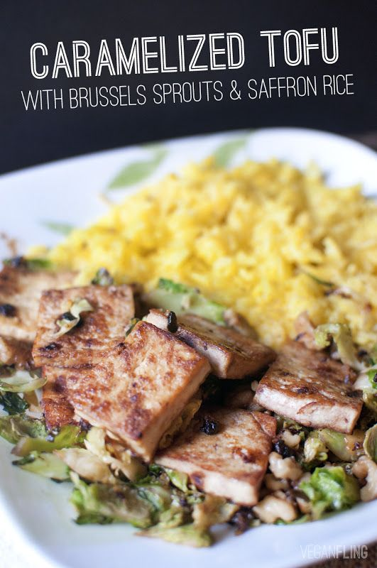 Vegan Caramelized Tofu with Brussels Spouts and Saffron Rice.