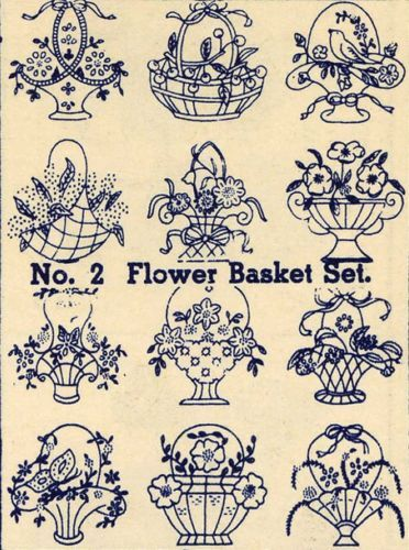 Embroidery Transfers Flower Basket Quilt Depression1930