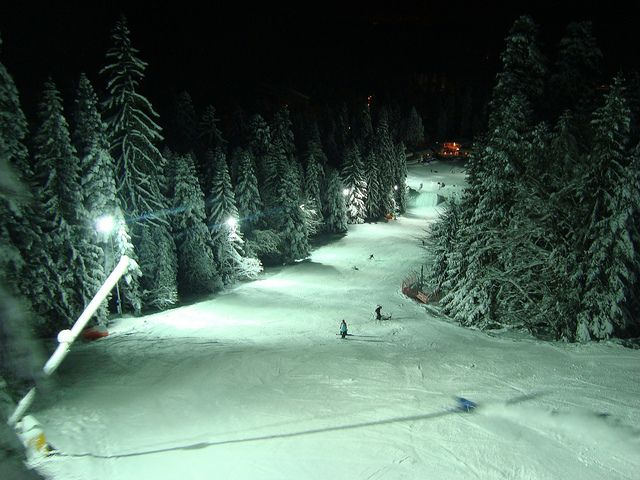 Night skiing in Borovets, Bulgaria.