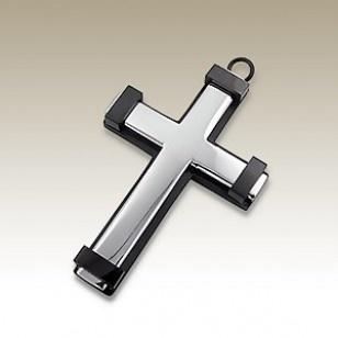 WHOLESALE STEEL PENDANTS FROM ALISILVERJEWELLERY.COM  Cross pendant - finishing: IP Plating - size: 3.0x4.5cm.