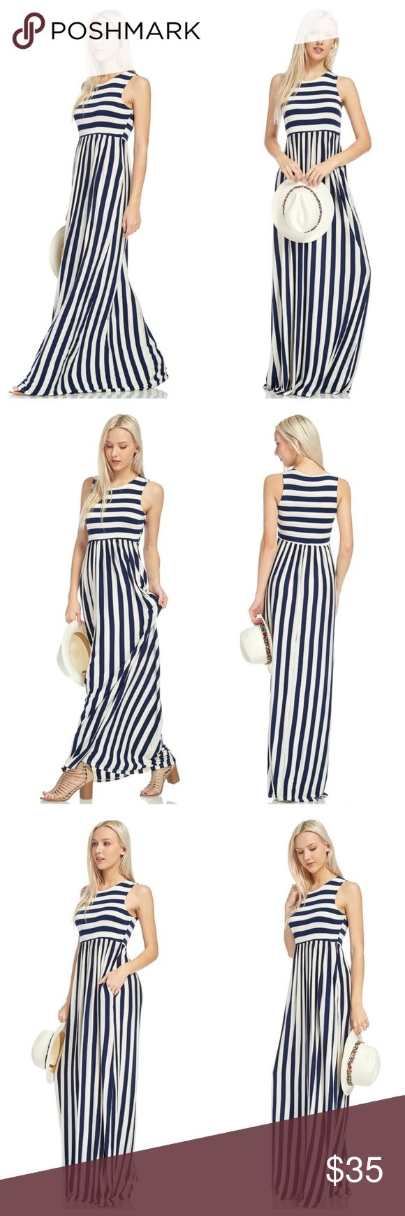 HPNavy And Ivory Striped Sleeveless Maxi Navy and ivory striped sleeveless maxi with side pockets. Bodice is made with two layers of fabric. EVIEcarche Dresses