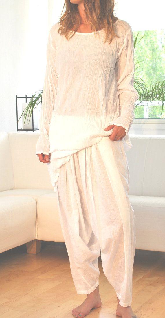 Handmade crinkled Tunic worn over a skirt or oriental by YOUSAKO, kr800.00