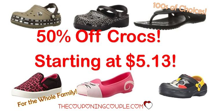 ***HOT BUY ~ 50% Off Crocs Shoes*** Prices As Low As $5.13! Choose styles for men, women and kids! Shoes, sandals and even sneakers! Grab some for Spring and Summer!  Click the link below to get all of the details ► http://www.thecouponingcouple.com/50-off-crocs-shoes-today-only-as-low-as-13-99/ #Coupons #Couponing #CouponCommunity  Visit us at http://www.thecouponingcouple.com for more great posts!