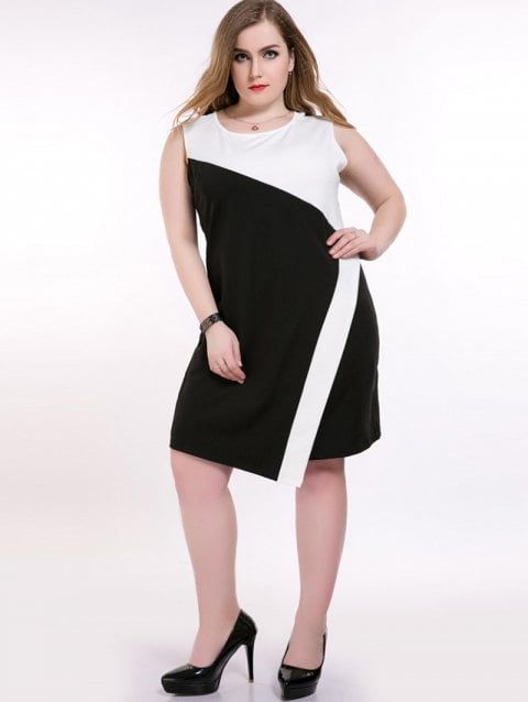 Color Block Sleeveless Plus Size Dress in 2019 | Top Dresses ...