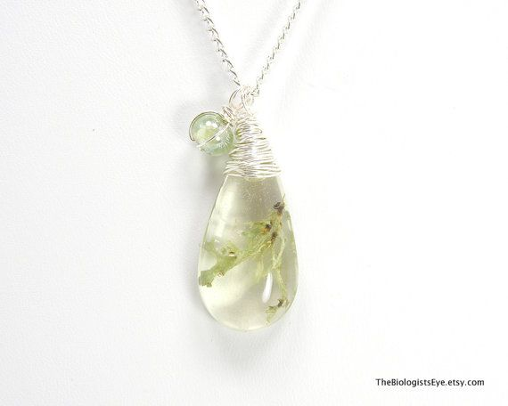 Sage Green Lichen in Resin Teardrop Pendant  by TheBiologistsEye