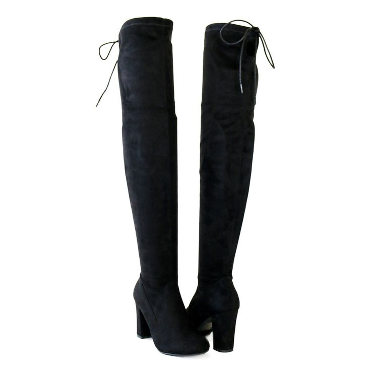 """Style : Thigh High Boots Heel Height : 3 1/4"""" Condition : New in Box Main Color : Black Main Material : Man-made Material Fit : Slightly Small to size Size 6 and Size 10 measurements Size 6 Shaft Appr"""