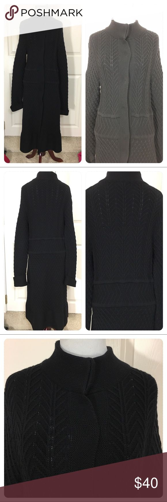 Faconnable long sweater coat Great long merino wool sweater coat from high end designer Faconnable. Pretty sweater design. Cuffed sleeves. Hidden snap fronts. Light wear - no flaws noted. faconnable Sweaters Cardigans