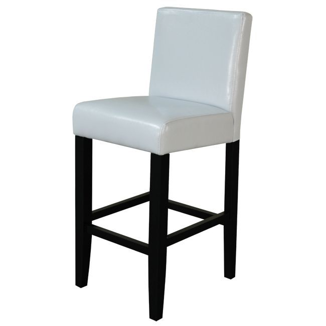over stock $189 for set of 2 Turn an unused counter into an entertaining space with these elegant leather counter stools. The faux white leather seat coverings compliment the bold black legs, creating a minimalistic look that will turn any space into a place you want to sit.