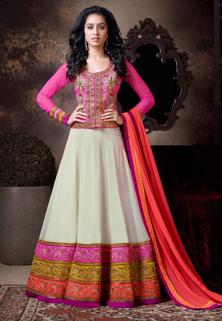 #Pink Art Silk and Faux #Georgette Abaya Style #ChuridarKameez.  Item Code: KCR6079  Price: $210.00