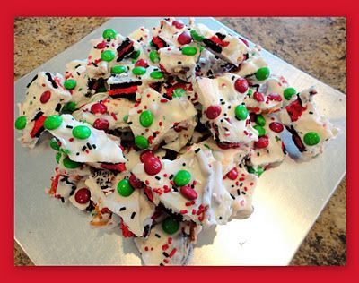 Christmas Bark  14 whole Oreos, broken up (get the Christmas ones if you can)  1 1/2 cups pretzels, broken. (long skinny ones work great)  1 cup Christmas colored M's  1 lb white chocolate or almond bark (I used bark)  Christmas colored sprinkles