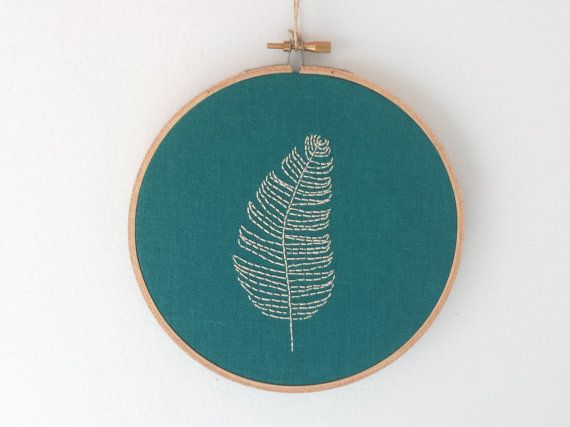 Lone Feather Hoop Art in Teal, Modern Embroidery Wall Art, Custom Made-to-Order