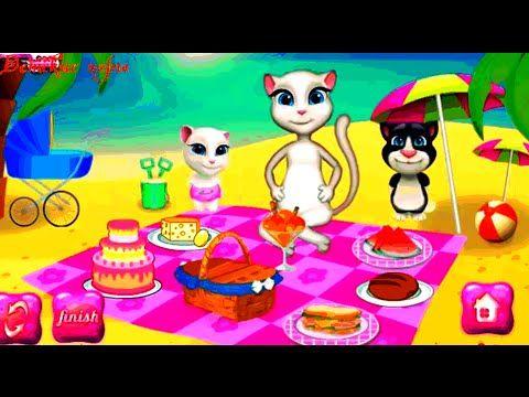Кошка Анжела  с друзьями на пикнике Talking Angela детские игры