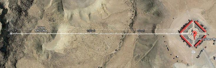 Cerca de 200 mil personas viajan a Four Corner Monument, el hito que marca el encuentro de Nevada, Arizona, Utah y Nuevo Mexico.   Sin embargo, el monumento se encuentra 551 metros al Este del verdadero hito cuadripartito, producto de mediciones imprecisas del siglo XIX.