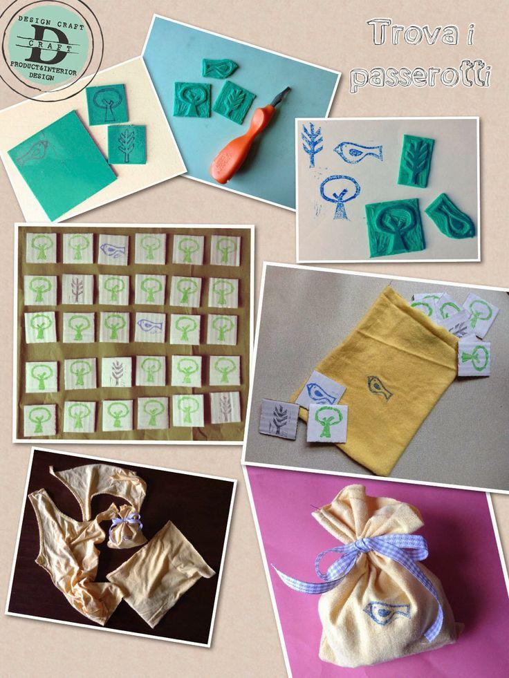 DESIGN CRAFT- trova i passerotti, eco-gioco realizzato con scarti di cartone+ vecchie canottiere per sacchettino packaging