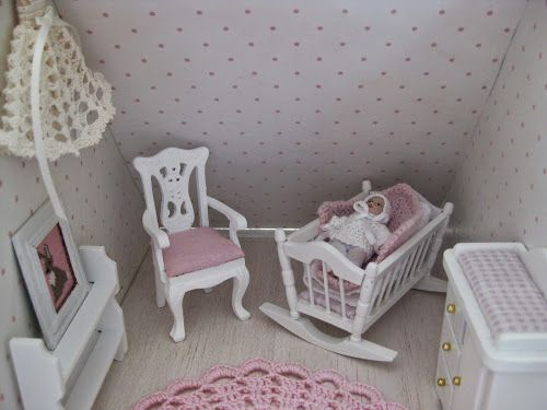 baby room in dollhouse, beautiful crochet dress for baptism