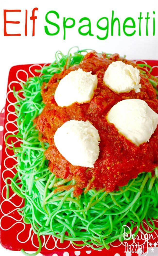 Elf spaghetti! Enjoy a fun dinner with the family with green noodles and marinara sauce. Don't forget the Mozzarella snowballs! Design Dazzle