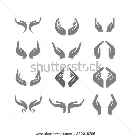 Vector set of hands in various positions