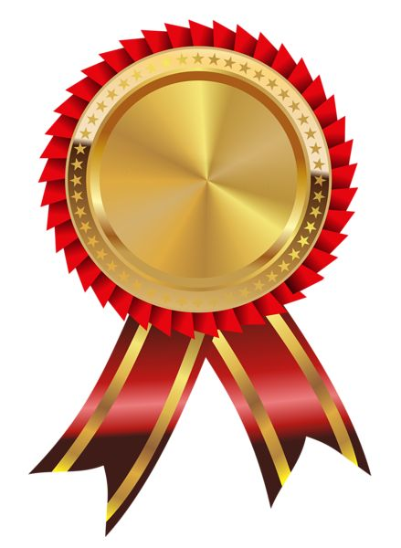 Gold and Red Medal PNG Clipart Image