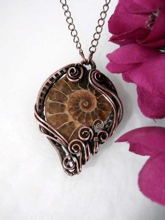 Wire Wrapped Ammonite in Copper, Pendant Necklace, Handmade Wire Weaved Jewelry