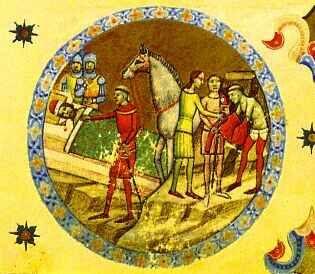 Abbot Villermus of Szekszárd warns Duke Géza (from the Illuminated Chronicle)