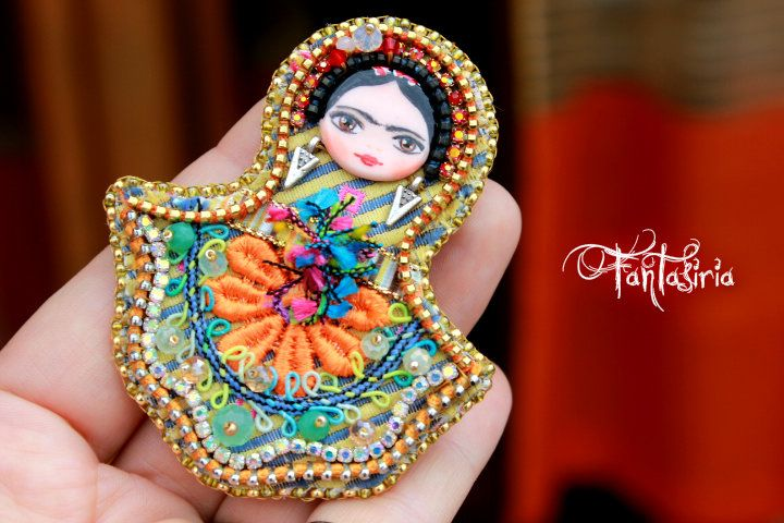 Frida Kahlo, art-doll, matryoska doll, OOAK, handmade embroidery creations