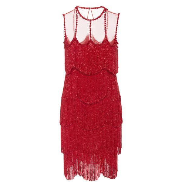 Naeem Khan     Sleeveless Flapper Fringe Mesh Neckline Mini Dress (11,255 BAM) ❤ liked on Polyvore featuring dresses, red, mesh dress, fringe mini dress, red sleeveless dress, gatsby dress and short mini dress