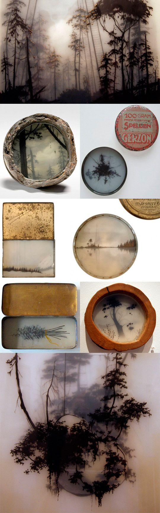 This is not encaustic. But I think you could get a similar effect?  http://www.brookssalzwedel.com/