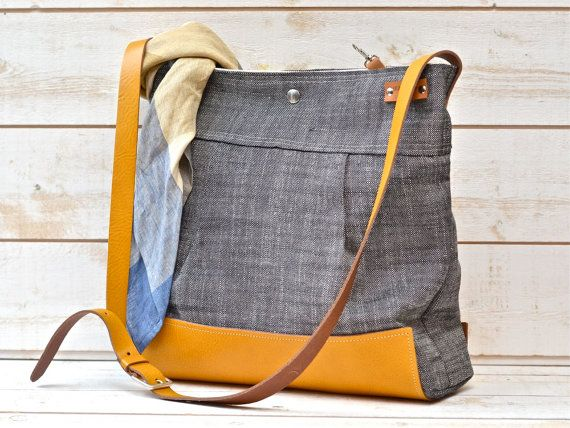 Waterproof  Messenger Bag in black ecru linen and waterproof leather in your choice of colors