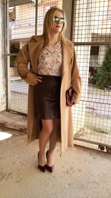 Camel coat, floral shirt and bourgundy skirt!!Elegant street style and office look!