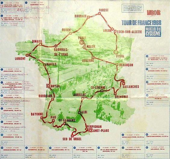 Cyclisme sur route - Tour de France 1968 - Carte et profil