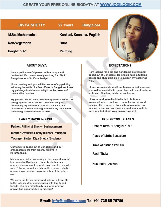 9 sample biodata format for marriage with bonus writing tips jodi logik - Matrimonial Resume Format