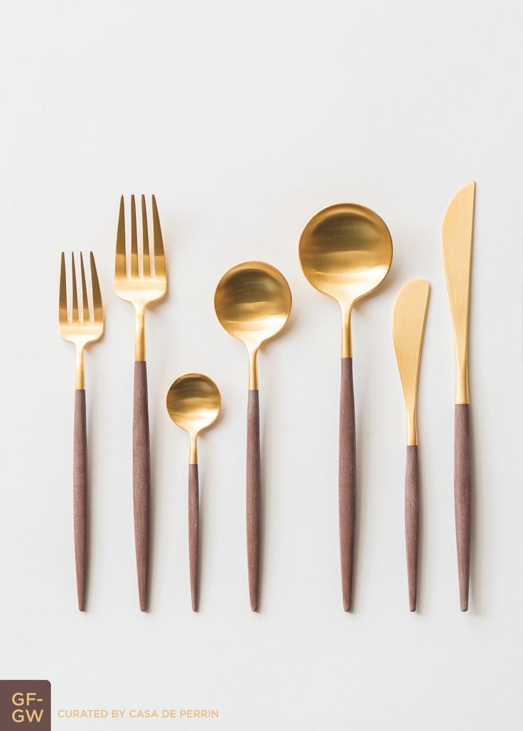 Goa Flatware | Gold + Wood // Casa de Perrin