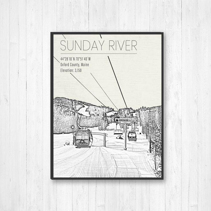 Sunday River Maine Ski Resort Print Hanging Canvas Of Sunday Etsy Sunday River Maine Ski Print Ski Resort