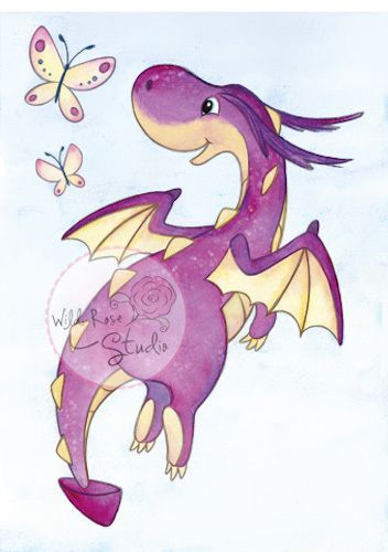 Wild Rose Studio Clear Stamp - Dragon Flying available at The Rubber Buggy