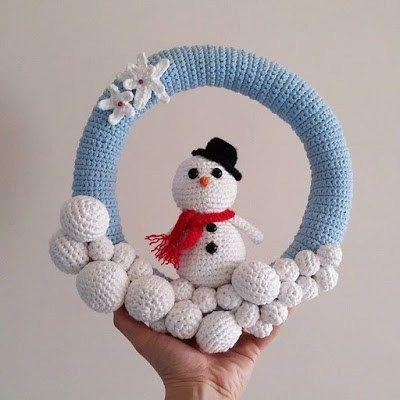 Crochet Amigurumi Pattern – Snowman Wreath – Crochet free pattern