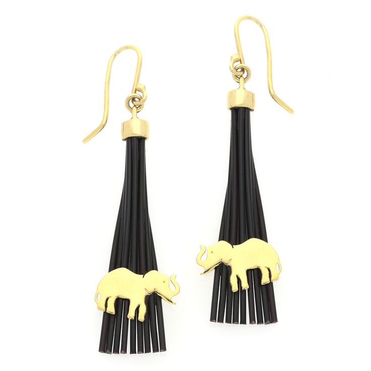 14K Yellow Gold African Inspired Elephant and Horn Drop Earrings    www.uwekoetter.com